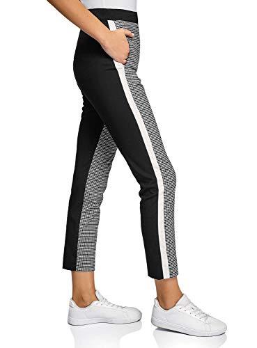 oodji Ultra Damen Eng Zulaufende Hose mit Seitenstreifen, Schwarz, 38
