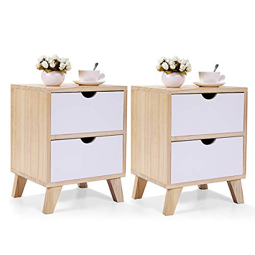 Purchase JAXSUNNY 2 Drawers Nightstand Solid Wood Mid Century Modern End Table Bedside Table for Bedroom Set of 2,14″ L x 12″ W x 18″ H,White and Walnut