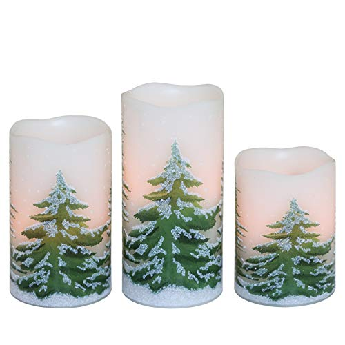 DRomance Flameless Flickering Candles Battery Operated with 6 Hour Timer, Set of 3 Real Wax LED Pillar Candles Warm Light Christmas Decoration Candles(Christmas Tree Decal, 3 x 4,5,6 Inches)