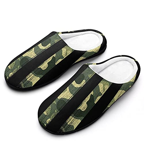 Kenaat Unisex Camo American Flag Cotton Slippers with Anti-Skid Sole Fuzzy Comfy Warm House Slippers Anti-Skid House Shoes for Men Women