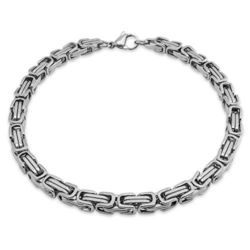 SoulCats® Armband Edelstahl Königskette Panzerkette Armkette, Farbe:Silber, Stärke:5 mm