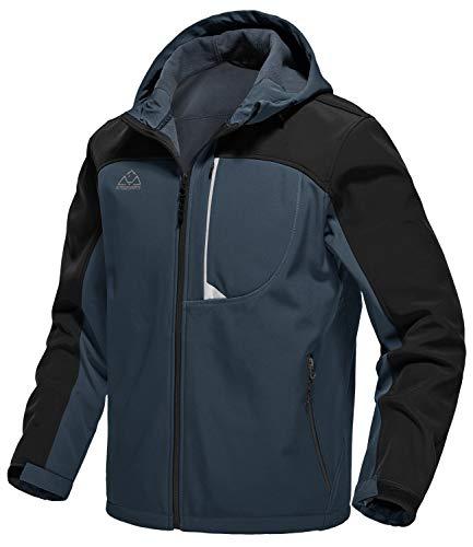 donhobo Herren Softshell Jacke Wasserabweisend Winddicht Warm Übergangsjacke Funktionsjacke Outdoorjacke mit Kapuzen Und Fleece-Futter Grau L