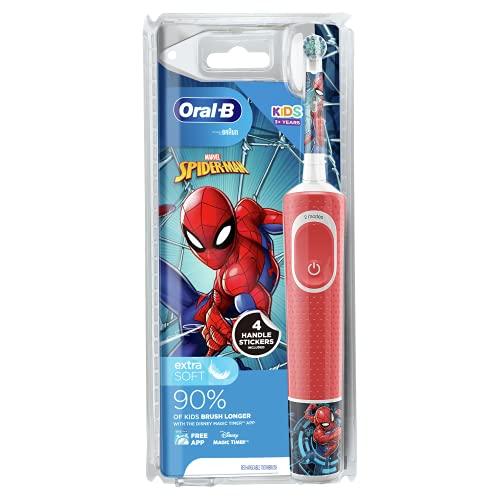 Oral-B Elektrische Kinder-Zahnbürste von Braun, 1 Griff mit Marvel Spider-Man, 1 Zahnbürstenkopf, für Kinder ab 3 Jahren
