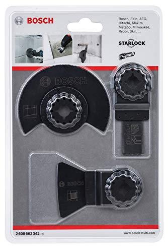 Bosch Professional 2608662342 Fliesen-Set für Multi-Cutter 3-teilig, Schwarz