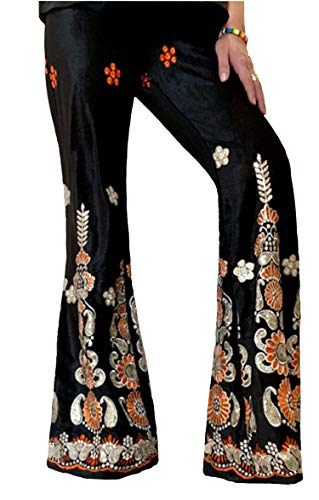 RED DOT BOUTIQUE - 903 - Womens Fashion Printed Sparkling Sequined Flared Bell-Bottom Plus Size Pants Black (M)