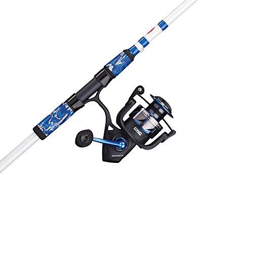 PENN Fishing Battle Spinning Reel and Fishing Rod Combo, Black/White/Blue, 8000 Reel Size - 10' - Heavy - 2pc (BTLIII8000LE102H)