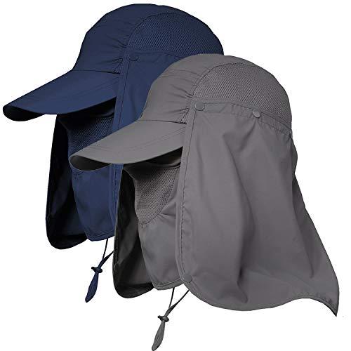 Jormatt Sonnenhut mit breiter Krempe, UV-Schutz, LSF 50+, faltbar, für Angeln, Safari, Marineblau und Dunkelgrau, 2 Stück