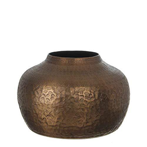 Casa Vivante vaas decoratieve vaas Tristan aluminium - bronskleuren - 19 x Ø 26 cm - bovenpot brons handgemaakt