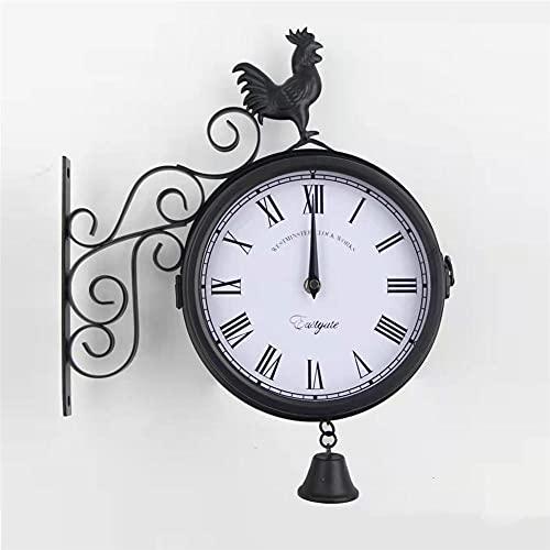 Reloj de Pared Vintage, Reloj de Pared de Doble Cara, Grande Redondo Metal Retro Silencioso No-Ticking Fáciles de Leer Funciona con Pilas Decoración para Salon Jardín Interior y Exterior Negro