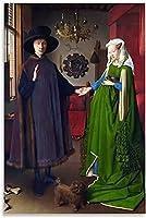 油絵ポスターポスター装飾画キャンバスポスター40x60cm-アルノルフィーニ夫妻ヤンファンエイク-16x24inch(40x60cm)_Unframe-style1