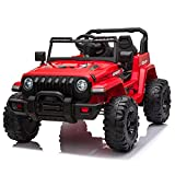 JOYMOR 12V Ride on Truck, Electric Battery Powered Kids Toddler Motorized Vehicles Toy Car W/ 2.4G Remote Control, Music, Radio, 3 Speeds, Seat Belts, LED Lights and Horn, Red