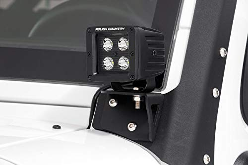 Rough Country Lower Windshield Light Brackets (fits) 2007-2018 Jeep Wrangler JK | Light Not Included | 8mm Post | 70044