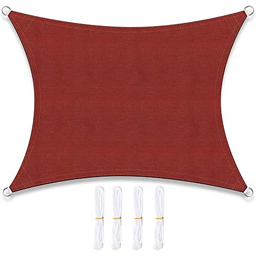 MUYUNXI Toldo Vela De Sombra Rectangular 2 × 3 M Impermeable Patio Toldos Exterior Terraza Protección Protección 95% UV para Patio Exteriores Jardín Balcón Rojo óxido(Size:4 * 7m(13.1 * 22.9ft))