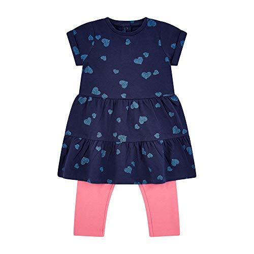 Mothercare Flow Mc61 Navy AOP Dress W/Legging Set Ensemble, Noir (Blue 128), 24-36 Months (Size:98) Bébé Fille
