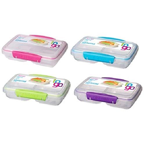 Sistema 4er Pack Lunchbox Small Split to Go, in 2 Sektionen unterteilt, 350ml, farblich Sortiert