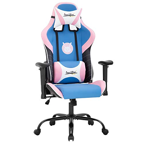 PC Gaming Chair Racing Office Chair E-Sports Computer Chair with Lumbar Support Adjustable Headrest 2D Armrest Rolling Swivel Game Chair Task Ergonomic PU Leather Desk Chair