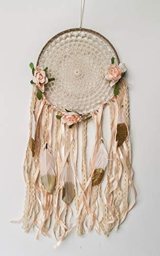 SO CAL PRO Dream Catcher Flower Feather Pendant Wall Hanging for Car Home DIY Girls Kids Nursery Mobile Bedroom Decoration Party Gift Favor Ribbon Decor Unicorn (Boho Gold)
