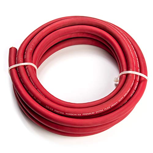 2/0 Gauge Torbon X - 25 Feet Red - 100% Copper Premium Industrial Grade Extra Flexible Welding Cable 600 Volt