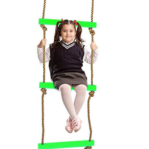 Alomejor Kinder Kletterleiter Kinder Strickleiter Garten Strickleiter Klettergerüst ideal für Klettergerüste Baumhausdichten und Spielhaus(Grün)