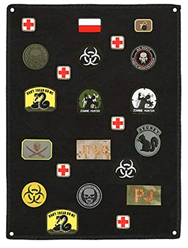 VIKING GEAR® Airsoft Patch Aufhänger - Klettmatte Wand - Patches - Kletttafel - Patches Klett - Patchs - Mattenwand - Patchwand, dunkel - schwarz