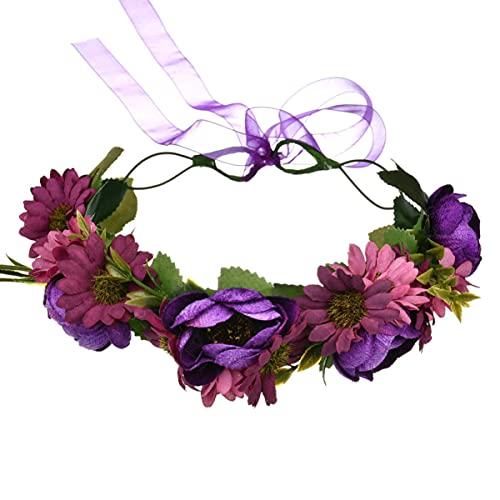 IMIKEYA Diadema Floral de La Boda de La Guirnalda del Pelo de La Flor de Rosa para Las Mujeres de La Muchacha ( Púrpura )