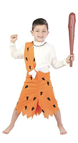 Guirca - Disfraz de troglodita con vestido y hueso, para niños de 5-6 años, color naranja (82706)