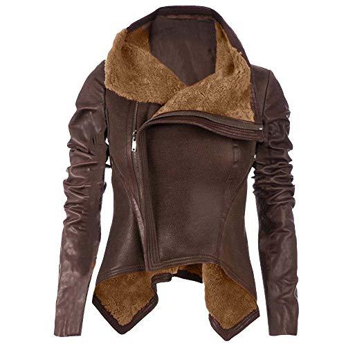 Cywulin Women Faux Leather Moto Biker Short Fur Coat Punk Slim Motorcycle Zipper Jacket Lady Lapel Bomber Casual Warm Outwear (Brown, Medium)