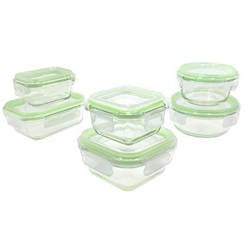 Home Fleek - Glas-Frischhaltedosen | 6 Behälter + 6 Deckel | Luftdichte | BPA Frei (Set 6, Grün Gemischt)