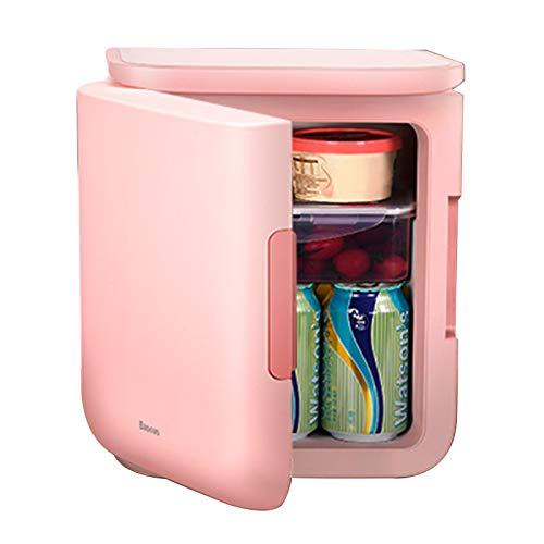6L Mini Refrigerador, Nevera Pequeña Portátil con 5-65 ℃ Enfriamiento y Calentamiento, Mini Frigorífico Compacto para Alimentos, Bebidas, Casa, Dormitorios, Oficina,Pink