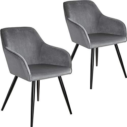 tectake 800865 2er Set Esszimmerstuhl mit Armlehnen, gepolstert, Sitzfläche aus Samt, Schwarze Metallbeine, für Wohnzimmer, Esszimmer, Küche und Büro (Grau Schwarz | Nr. 404034)