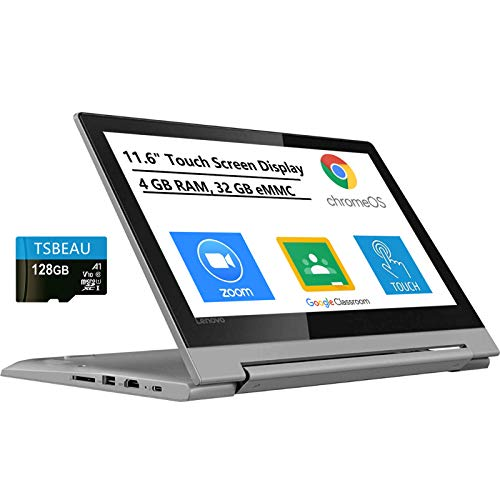 Lenovo Chromebook Flex 3, 2-in-1 11.6' Touch Screen Convertible Laptop, MediaTek MT8173C, 4GB Memory, 32GB eMMC Flash, Chrome OS, Bundled with TSBEAU 128GB Micro SD Card