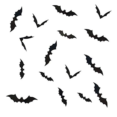 NUOBESTY Bat Wall Decals PVC 3D Bats Removable Decals Stickers Window Decors Halloween Party Supplies,48pcs,Black