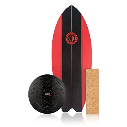 JUCKER HAWAII Homerider Aloha Black - Tabla de equilibrio (incluye rollo de corcho y cojín de equilibrio), color negro