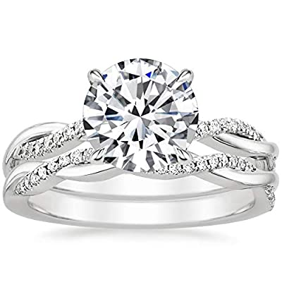 Bridal Set 2-1/4 CT Round Cut Cubic Zirconia Engagement Rings for Women 10k Solid White Gold Yellow Gold Rose Gold Free Engraving