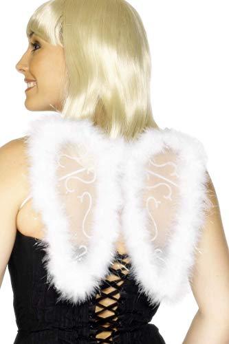 Smiffys Damen Mini Glitzer Flügel, One Size, Weiß, 29010