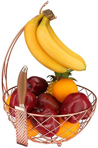 Roselife - Cesta de frutas, cuenco de almacenamiento de frutas, colgador de plátano y soporte de uva, soporte de plátano. Acabado cromado (oro rosa)