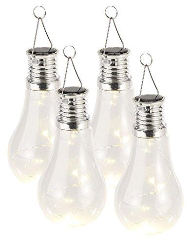 Lunartec Solar Birnen: 4er-Set Solar-LED-Lampen in Glühbirnen-Form, 3 warmweiße LEDs, 2 Lumen (Solar Glühbirnen für draußen)