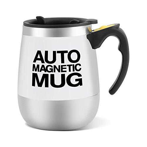 Fdit Selbstrührender Kaffeebecher aus Edelstahl, mit Aufschrift Auto Magnetic Mug für Kaffee, Tee, Heiße Schokolade, Milch, Kakao und Protein-Getränke weiß