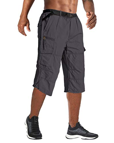 Wohthops Men's Multi Pocket Shorts Super Comfy Stretch Flex Waist Cargo Shorts Flat Front/Cargo Dark Gray, 34