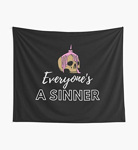 Evil Burning Skull Candle Everyone is A Sinner Tapestry Wall Art Tapestries for Dorms Bedroom Living Room Colorful Décor