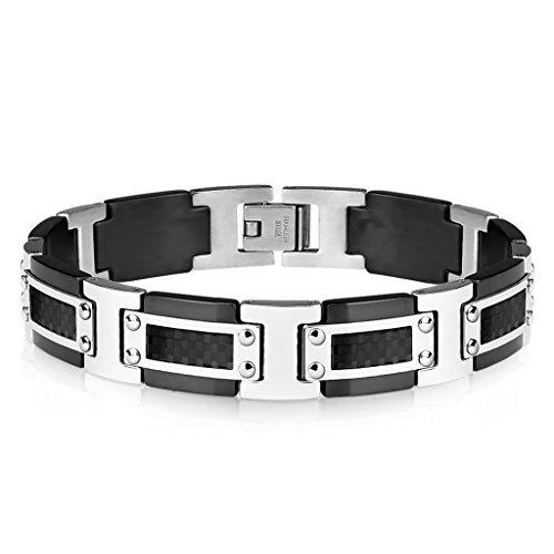 Tapsi´s Coolbodyart®  Glieder Armband Edelstahl Carbon Schwarz Silber