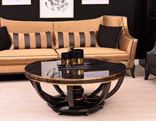 Casa Padrino Mesa de Centro Barroco de Lujo Negro/Oro Ø 107 x A. 50 cm - Mesa de salón Redonda de...
