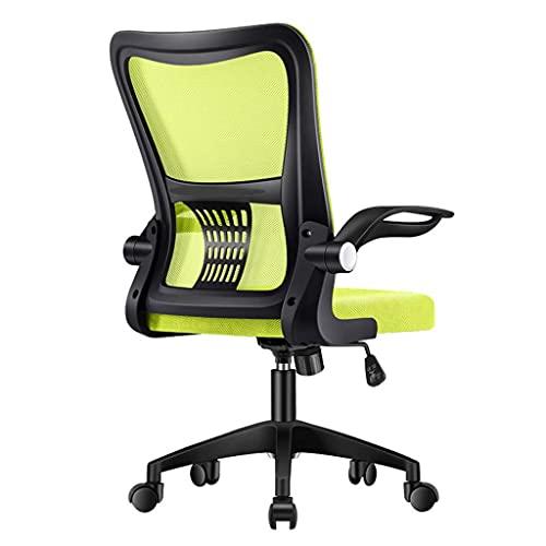 N&O Renovation House Ergonomischer Schreibtischstuhl mit mittlerer Rückenlehne mit hochklappbaren Armen und verstellbarem Dreh-Roll-Dreh-Wohnkomfort-Stühle Mesh-Computerstuhl für Damen Herren (Weiß)