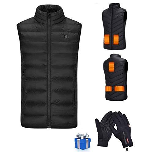 Veste Chauffante Homme et Femme,Veste Chauffante électrique USB Vêtements Chauffant électrique Hiver ChLéger Manteau Doudoune Veste,5 zones de chauffage Chaud Vêtements Avec une paire de gants chauds