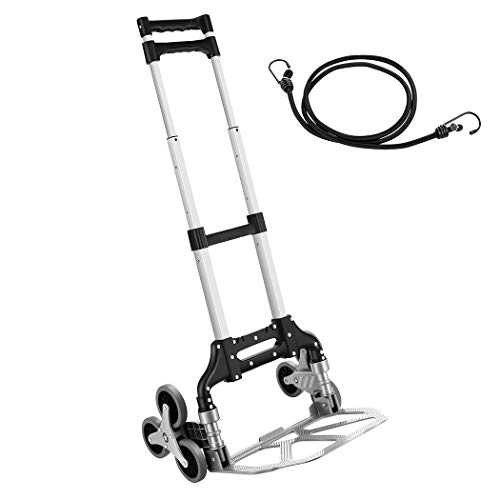 Aluminium Foldable Hand Truck, 165Lb / 75kg Capacity Heavy-Duty Luggage Trolley Cart, Transport Trolley with Bungees Ideal for Home, Auto, Office, Travel Use