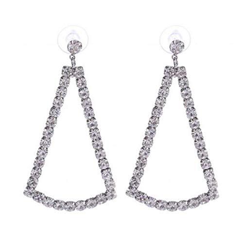 Yosemite - Pendientes de lazo personalizados para mujer, diseño de triángulo hueco, geométrico, colgante de gota con estilo de oreja de gota para la oreja, plata