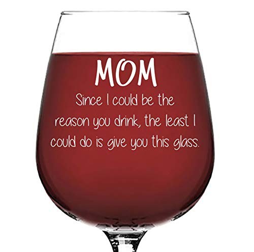 Mom Reason You Drink Funny Wine Glass - Best Christmas Gifts for Mom, Women - Unique Xmas Gag Gift Ideas for Her from Son, Daughter, Child, Kids - Cool Birthday Present for Mother - Fun Novelty Gift