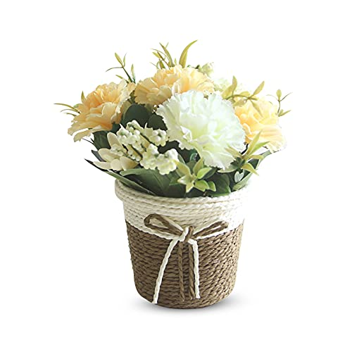 YngFfb Flores Artificiales Decorativas, Maceta De Flores Artificiales, Mini Planta De Flores Artificiales De Plástico con Maceta De Ratán para El Hogar, Banquete De Boda(Amarillo)