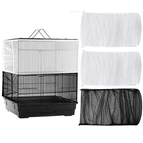 POPETPOP 2pcs Bird Cage Cover Seed Catcher Birdcage Nylon Mesh Net Cover Skirt Guard Basket Soft Airy Bird Cage Accessories