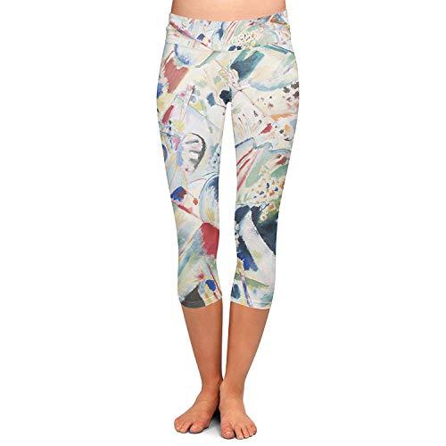 Pantalones Deportivos De Mujeres Moda Las Arte Abstracto Pintura Yoga Especial Estilo Capri Leggings Skinny Stretch Fitness Training Pantalones Caprihose (Color : Colour, One Size : S)